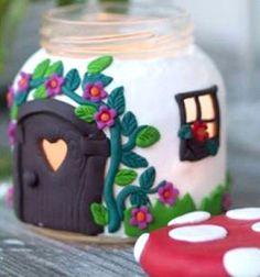 DIY Jar Mushroom House - with polimer clay / Manó házikó befőttes üvegből és levegőre szilárduló gyurmából / Mindy -  creative craft ideas for everyday