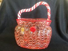 Hand Blown Glass purse, red glass purse, glass purse vase, candy stripe vase, Vintage Murano Glass purse vase by JewelryandGlassworks on Etsy