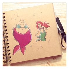Some adorable art from DeeeSkye on Deviant Art of Baymax with some of the Disney princesses. Ariel. [For more Disney tips, secrets, pics, etc., please visit my blog: http://grown-up-disney-kid.tumblr.com/ ]