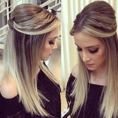 2018 party hairstyle for bridesmaids and foramndas Fancy Hairstyles, Straight Hairstyles, Braided Hairstyles, Wedding Hairstyles, Party Hairstyle, Love Hair, Gorgeous Hair, Hc Hair, Braut Make-up