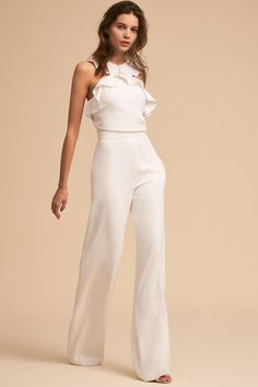 Best 12 Product Name Fashion elegant falbala vacation jumpsuit Brand Name Eyekingdom Gender Women Season Spring/Summer Type Lady/Elegant/Fashion Occasion Office/Daily life/Date Pattern Plain – SkillOfKing. Rehearsal Dinner Fashion, Rehearsal Dinner Etiquette, Rehearsal Dinners, Little White Dresses, White Outfits, Elegante Jumpsuits, Wedding Jumpsuit, Outfit Trends, Look Chic