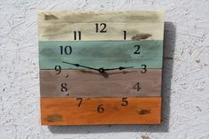 Use wood from a pallet, paint it, add some numbers and put the mechanism from an old clock to make a rustic outdoor clock****Follow us on www.facebook.com/earthwormtec  www.google.com/+Earthwormtechnologies for great organic gardening tips #DIY #repurposing #garden