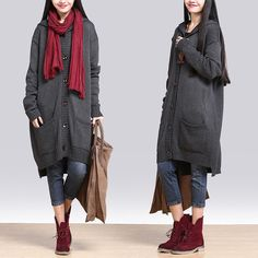 Loose gray wool cardigan / sweater casual hooded jacket : Pulls, gilets par exceptionid