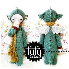 Crochet Pattern Doll DIRK the dragon / dinosaur PDF par lalylala
