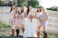 romantic outdoor wedding country western footwear pastel printed bridesmaid dresses