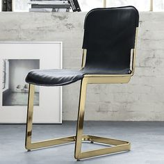Gold structured black leather office chair