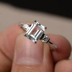 Engagement Ring Natural White Topaz Ring November Birthstone
