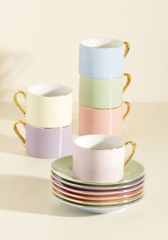 Thanks So Matcha Tea Set in Pastel. Show gratitude to your friends for being so lovely by gathering them around this sweet cup and saucer set for a gourmet fete! #multi #modcloth