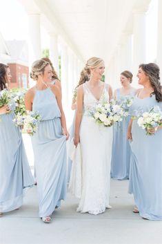 Steel Blue Bridesmaid Dresses, Blue Bridesmaids, Wedding Bridesmaid Dresses, Bridesmaid Colours, Wedding Gowns, Wedding Cakes, Mumu Wedding, Romantic Wedding Centerpieces, Dusty Blue Weddings