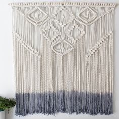 Large dip dye grey macrame wall hanging custom made for above the bed. Pattern and design is unique one of a kind. We take all custom orders and we are open to any ideas. Creating is our favourite thing! If you have some thing in mind check out our custom orders page and get in contact.  Size:  100cm Wide x 110cm Long Price ranges from $180  Can be hand dyed in any colour:-  Blue Black Grey Yellow Teal Orange Pink Purple Or natural  Just add a note to your order and i can accommodate.