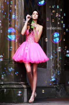 Kendall-Kylie Jenner News & Pictures: Kendall & Kylie Jenner Model Sherri Hill Prom Dress gowns Pretty Prom Dresses, Sherri Hill Prom Dresses, Pink Mini Dresses, Pageant Dresses, Pink Dress, Pink Tutu, Orange Dress, Kendall Jenner, Kylie Jenner Modeling