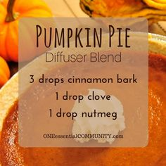 pumpkin pie diffuser blend PLUS recipes for 20 fall diffuser blends -- easy, non-toxic ways to make your home smell like fall using essential oils. and there's even a FREE PRINTABLE of all the fall diffuser blend recipes!!