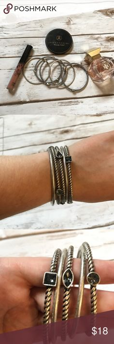 💞Ann Taylor LOFT Bangles Silver tone, bangles with rope style texture and jewels. Worn a few times but too big for my wrists. Still in great condition! 5 bangles in total. LOFT Jewelry Bracelets