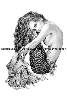 Mermaid- Illustration- Black and white- 8 X10