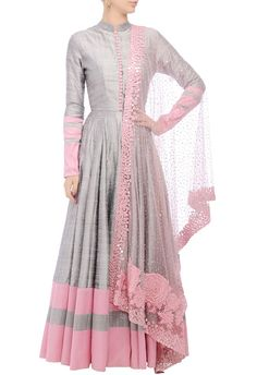 Grey embellished anarkali set by Manish Malhotra - Shop at Aza Anarkali Dress, Red Lehenga, Lehenga Choli, Manish Malhotra Anarkali, Sharara, Anarkali Suits, Linen Dress Pattern, Dress Patterns, Indian Gowns Dresses