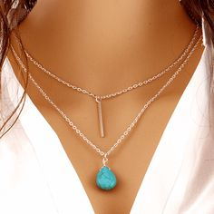 Free Jewelry - Bohemia Turquoise Double Chain Heart Necklace - Clever Clad