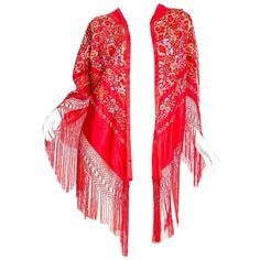 Preowned Hand Embroidered Chinese Red Fringed Kimono Jacket ($1,400) ❤ liked on Polyvore featuring outerwear, jackets, red, fringe jackets, red jacket, red kimono jacket, fringed kimono jacket and fringe kimono
