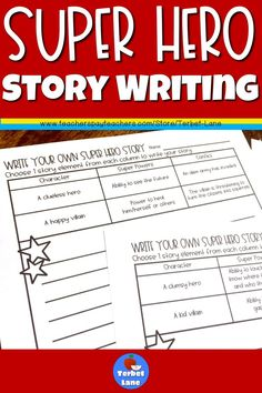 These fun super hero writing prompt pages will be a low prep addition to your writing unit, writing center or for early finishers. Includes 30 different writing pages. Each page gives students a choice between two main characters, super powers and conflicts. Because each page has at least 8 combinations, these pages can be used over and over. Includes 1 blank decorative page for additional writing.#superhero #writing #literacy #ela #terbetlane