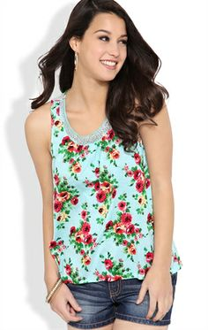 Floral Print Tank Top with Jeweled Neckline and Lace Back
