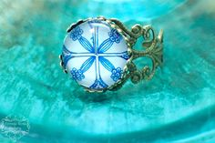 Blue Boho Ring Blue #VintageRoseGallery #etsy Hippie Bohemian Ring Mediterranean