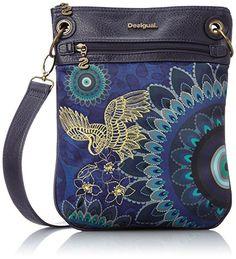 Desigual BOLS_BANDOLERA COLUMBIA - Bolso de hombro de material sintético mujer, color azul, talla 25x30x1 cm (B x H x T)