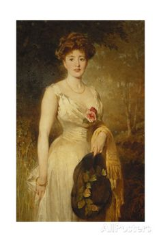 Portrait of a Lady in a White Dress, 1909 Giclee Print by George Elgar Hicks at AllPosters.com