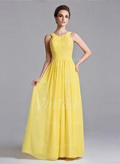 Evening Dresses - $106.98 - A-Line/Princess Scoop Neck Floor-Length Chiffon Evening Dress With Ruffle (0175055989)