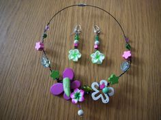 Necklace and earrings Flowers of Spring by CreationsBella on Etsy, $34.00