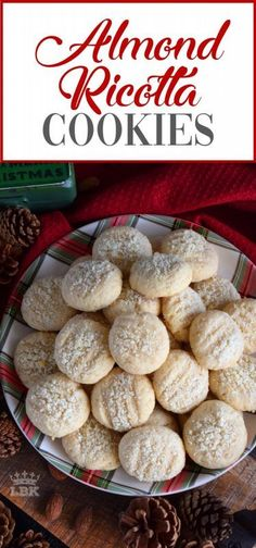 Almond Ricotta Cookies Almond Ricotta Cookies - Ricotta cheese is baked into these Almond Ricotta Cookies, which will help keep the cookies soft and fresh for all of your holiday visitors! Ricotta Cheese Cookies, Italian Ricotta Cookies, Ricotta Cheese Recipes, Italian Cookie Recipes, Italian Cookies, Baking Recipes, Dessert Recipes, Easy Italian Desserts, Italian Biscuits