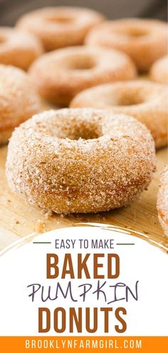 Baked Pumpkin Donuts coated in cinnamon sugar! This easy homemade recipe makes 1 dozen soft, fluffy donuts that are ready in 30 minutes! One of the BEST Fall Pumpkin dessert recipes! Easy Fluffy Donut Recipe, Pumpkin Donut Recipe Baked, Best Donut Recipe, Baked Donut Recipes, Baked Pumpkin, Baked Donuts, Bread Recipes, Yummy Recipes, Diet Recipes