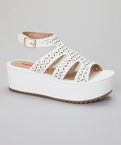 Another great find on #zulily! White Cutout Platform Sandal #zulilyfinds