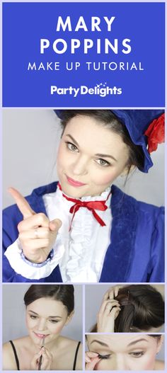 Transform yourself into the world's best-loved nanny with our easy Mary Poppins make-up tutorial. Find out how to do Mary Poppins' hair and make-up and complete the look with a Mary Poppins costume from partydelights.co.uk. Easy Halloween Costumes, Halloween Outfits, Costume Ideas, Halloween 2019, Halloween Stuff, Halloween Halloween, Vintage Halloween, Halloween Makeup, Diy Mary Poppins Costume