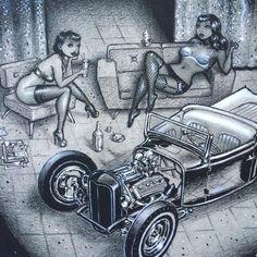 Garage Gossip Bucket Drawing, Hipster Art, T Bucket, Man Cave Garage, Kustom Kulture, Automotive Art, Street Rods, Art Cars, Brow