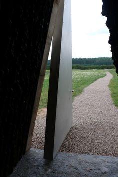door to Bruder Klaus Chapel by Peter Zumthor, Mechernich, Germany