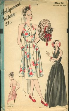 Hollywood 1871 40s dress halter pattern illustration floral white red black war era