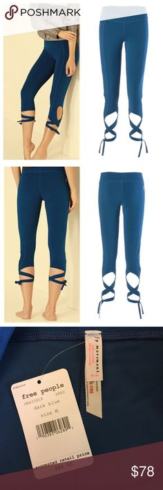 """Free People Movement Turnout Capri legging NWT ❤️ Price FIRM unless bundled  Style meets fitness in these luxury performance Free People capri leggings. Color: Dark Blue. Stretchy sweat wicking fabric with ballet style picot performance wrap ties. The beautiful performance wrap ties are designed to form elegant keyholes along the calf. They can be laced any way you choose. Material: 40% cotton, 45% nylon, 15% spandex. Made in the USA. Flat measurements: 14.25"""" across waist, 8.25"""" rise from…"""