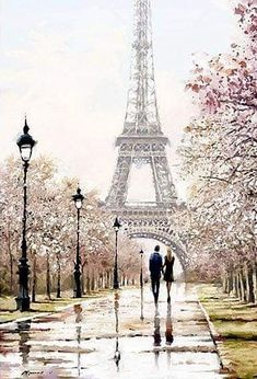 One day in Paris. One day in Paris. Eiffel Tower Painting, Paris Painting, Paris Wallpaper, Beautiful Paris, Painting People, Couple Painting, Drawing People, Paris Photography, Paris Eiffel Tower