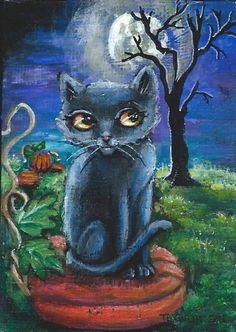 NFAC ACEO Original Miniature Acrylic Painting Black Cat Moon Pumpkin Gulat…
