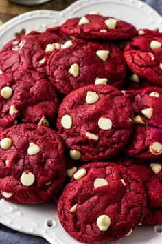 These Red Velvet Cake Mix Cookies are soft, chewy & filled with white chocolate chips. There's only 4 ingredients and they're the perfect easy red velvet cookie for Christmas or Valentine's! Red Velvet Cookie Recipe, Red Velvet Cookies, Red Velvet Recipes, Red Velvet Cake Mix, Red Velvet Chocolate Cake, Chocolate Chocolate, Cake Mix Cookie Recipes, White Chocolate Chip Cookies, Valentines Food