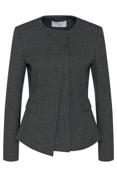 Hugo Boss Jadela Stretch Virgin Wool Asymmetrical Blazer — UFO No Blazer Fashion, Hijab Fashion, Fashion Outfits, Traje Casual, Semi Formal Wear, Boiled Wool Jacket, Suits For Women, Clothes For Women, Classy Work Outfits