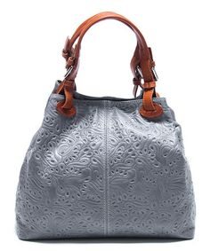 Look what I found on #zulily! Grigio & Brown Embossed Leather Hobo by Renata Corsi #zulilyfinds