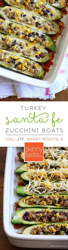Not time intensive- easy. Turkey Santa Fe Zucchini Boats are one of my favorites! Hollowed out zucchini boats stuffed with a cumin spiced ground turkey and black bean mixture with summer corn and tomato, baked in the oven with melted cheese – YUM! Ww Recipes, Turkey Recipes, Dinner Recipes, Cooking Recipes, Healthy Recipes, Turkey Food, Skinnytaste Recipes, Recipies, Healthy Dinners