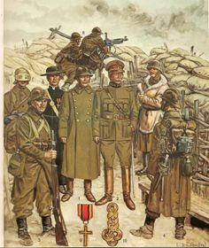 Belgian Infantry by L & F Funken. As per illustration nos. 1& 2 Lieutenant General 1918, 3 & 4 Foot Soldier 1917, 5 Winter Dress 1917-18, 6 Army Chaplain1914-15. 7 Look out with experimental helmet 1918 & 8. Browning machine gun.