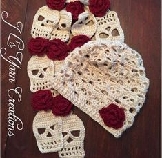 Isn't this sugar skull crocheted hat and scarf set gorgeous! Get them ready made to avoid any work on your part, or if you're feeling crafty have a go at making Mütze Sugar Skull Crocheted Hat & Scarf Set Diy Tricot Crochet, Crochet Beanie, Crochet Gifts, Crochet Scarves, Cute Crochet, Crocheted Hats, Crochet Baby, Doilies Crochet, Crochet Cowls