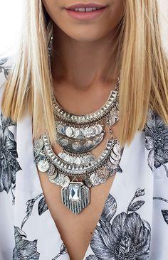 Marie Antoinette Coin Necklace Silver | Beginning Boutique #BBFEST #beginningboutique