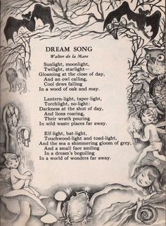Dream Song by Walter de la Mare from Poems for Boys and Girls illustrated by Lois Maloy Nursery Rhymes Poems, Dream Song, Kids Poems, Poetry Books, Poem Quotes, Faeries, Beautiful Words, Fairy Tales, Fantasy