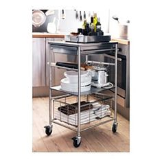 GRUNDTAL Kitchen cart - IKEA - all stainless steel, many accessories you can add, great for pantry