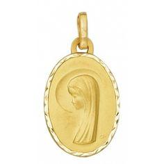 Médaille Vierge Ovale (Or Jaune) medailledebapteme.fr