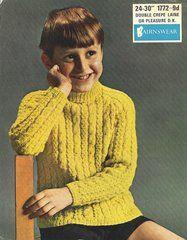 Bairnswear 1772 childrens cable jumper vintage knitting pattern