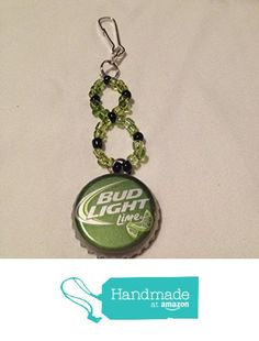 Lime Green Bud Light Upcycled Bottlecap and Beads Keychain from Southern Women Crafts https://www.amazon.com/dp/B01N2006FK/ref=hnd_sw_r_pi_dp_huKCybSYJ9Y6Z #handmadeatamazon